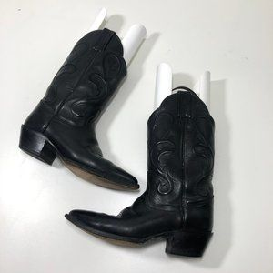 Dan Post Black Leather Heeled Cowboy Boots